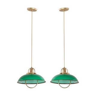 French Vintage Art Deco Green Glass and Brass Pull-Down Lights - a Pair For Sale