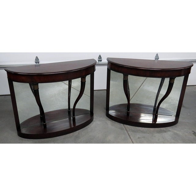 Brown Regency Style Mirrored Back Pier Tables - a Pair For Sale - Image 8 of 8