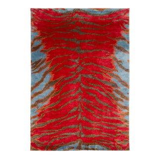 Carini Contemporary Silk Tiger Rug - 6′ × 9′ For Sale