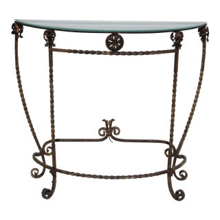 1920's Italian Glass Top Gold Leaf Painted Wrought Iron Demi-Lune Accent Table For Sale