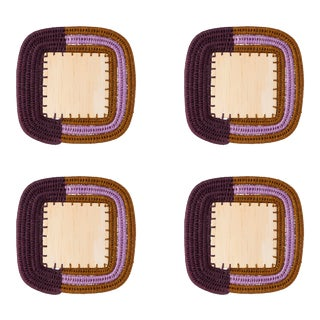 Square Sisal & Wood Stripe Coasters in Eggplant, Tobacco & Lilac - Set of 4 For Sale