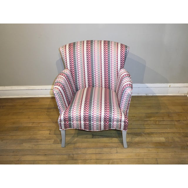 Textile Vintage Mid Century Petite Armchair For Sale - Image 7 of 8