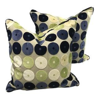 Ralph Lauren Blue and Green Circle Velvet Pillows - a Pair For Sale