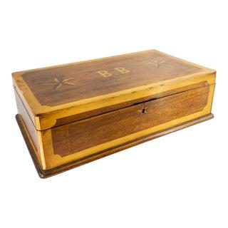 19th Century American Folk Art B.B. Monogrammed Marquetry Inlaid Box For Sale