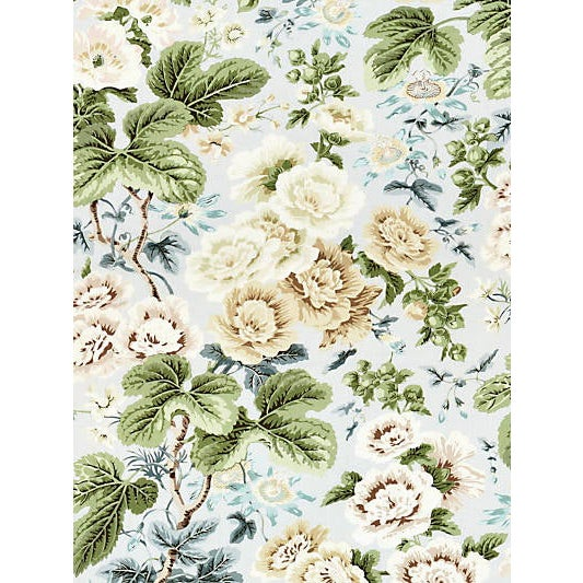 This classic English print design offers an abundance of flowers on a grand scale, with hollyhocks in full bloom...