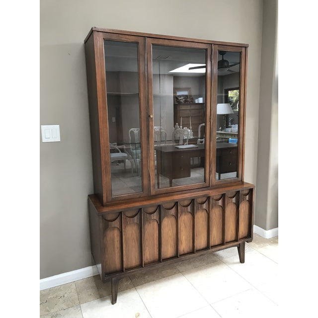 Mid-Century Modern Mid Century Modern Kent Coffey Perspecta Walnut and Rosewood China Hutch Credenza For Sale - Image 3 of 10