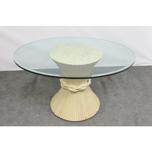 Mcguire Mid Century Modern Bamboo Wheat Sheaf Glass Top Dining Table