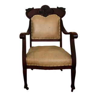 Late 19th Century Antique Hand-Carved Victorian Throne Arm Chair For Sale
