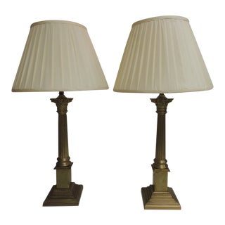 Pair of Vintage Antique Brass Finish Laura Ashley Home With Pleated Silk Shades For Sale