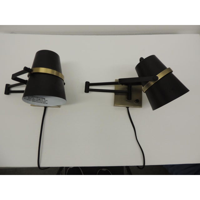 Pair of Mid Century Modern Style Wall Swing on Lamps For Sale - Image 12 of 12