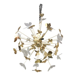 Italian Hand Made Gold 24k Butterfly Sputnik Chandelier For Sale