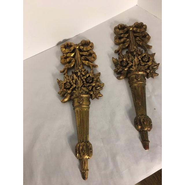 Hollywood Regency Gold Burwood Flower Urns - A Pair - Image 2 of 9