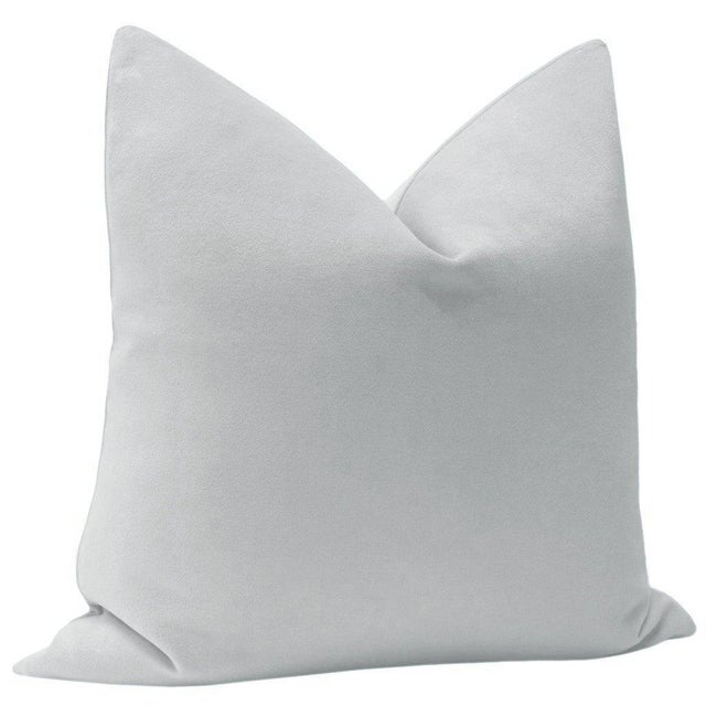 "Contemporary 22"" Dove Grey Velvet Pillows - a Pair For Sale - Image 3 of 5"