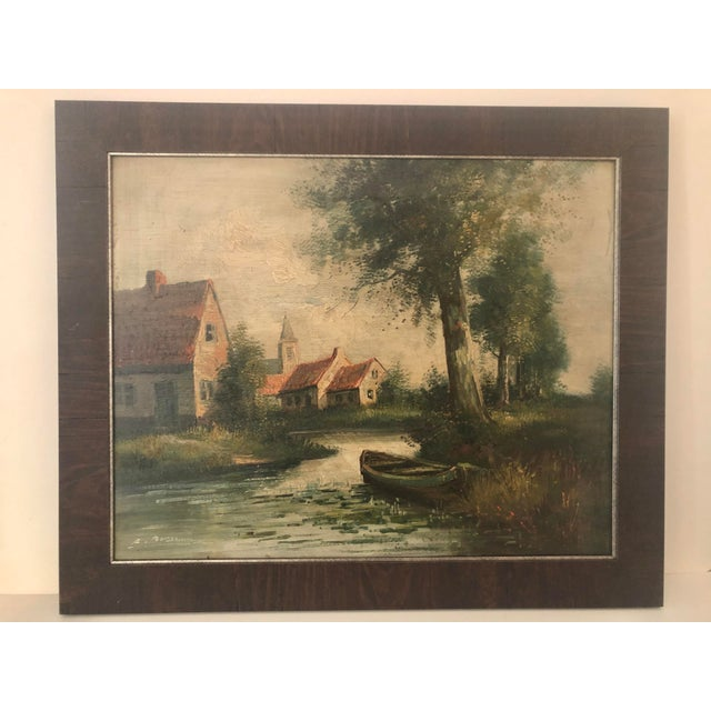 Wood Early 20th Century European Village Scene Landscape Oil Painting For Sale - Image 7 of 7