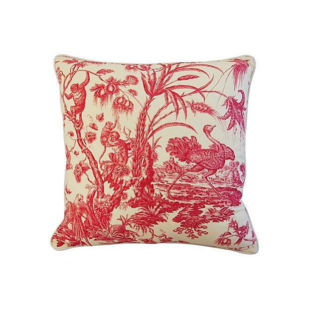 French Marius Boudin Toile & Linen Pillow - Image 7 of 7