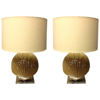 Pair of Glass Shell Form Lamps with Lucite Bases For Sale