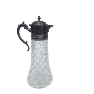 Antique Silver Plated Lead Crystal Tall Serving Pitcher For Sale