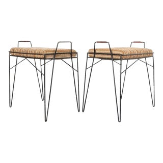 Set of Four Steel Wire Frame Stools Small Benches, Circa 1950 For Sale