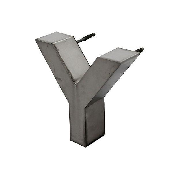 Mid-Century Modern Stainless Steel Letter Y For Sale - Image 3 of 5