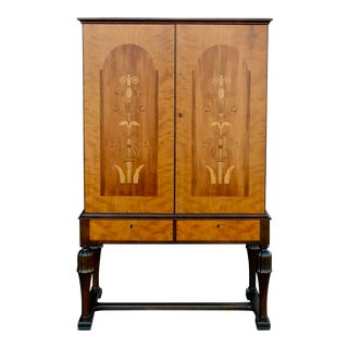 1920s Art Deco Inlaid Storage Cabinet in Golden Birch Wood For Sale