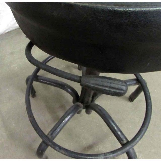 Industrial Vintage Black Cushioned Adjustable Stool For Sale - Image 3 of 7