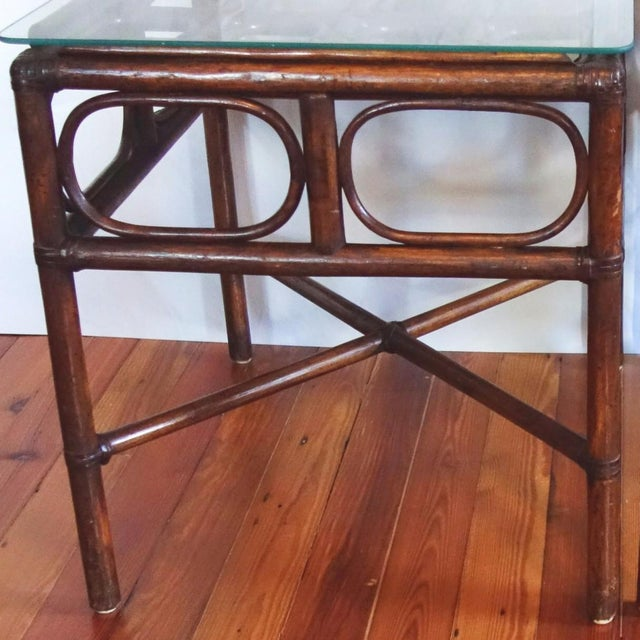 1970s Vintage Rattan Side Table With Glass Top For Sale - Image 5 of 6