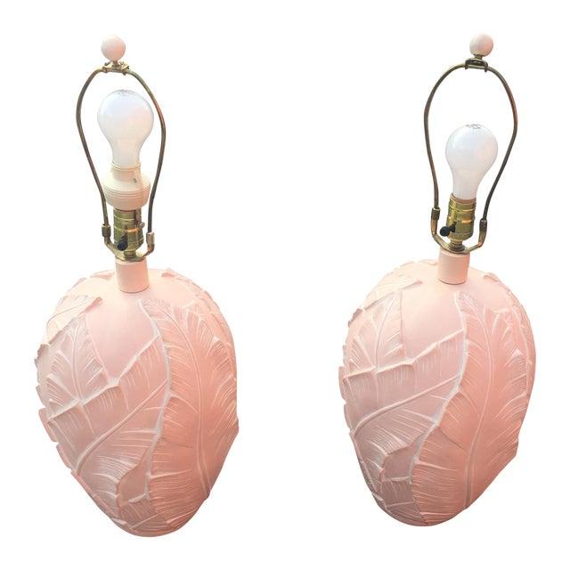 Vintage Banana Leaf Ceramic Blush Lamps - A Pair For Sale