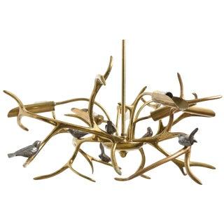 """Bronze """"Tree Sculpture, Six Birds"""" Chandelier by Willy Daro, Belgium, 1970 For Sale"""