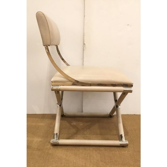 2010s Caracole Mid-Century Modern Style Cream Leather and Nickel Accent Chair For Sale - Image 5 of 6