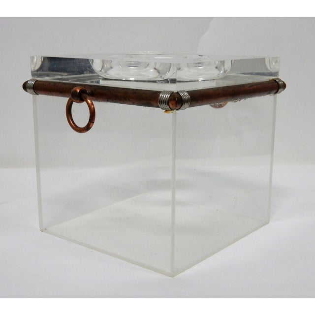 Vintage Cube Brass & Lucite Ice Bucket - Image 4 of 8