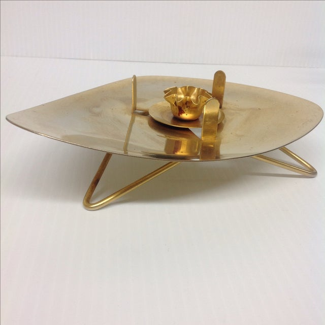 Mid-Century Brass Atomic Lamp with Hairpin Legs For Sale - Image 5 of 6