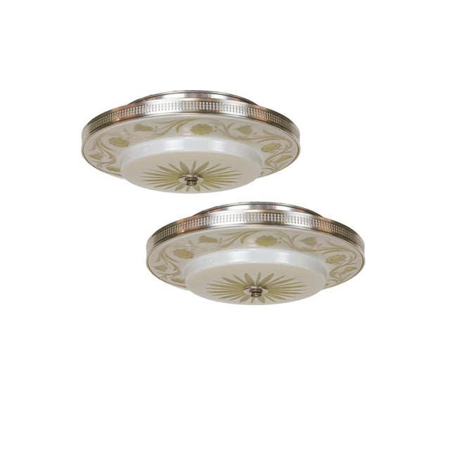 Hollywood Regency Flush Mount Fixtures - A Pair For Sale - Image 9 of 9