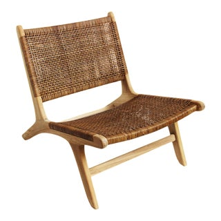 Modern Teak & Wicker Easy Chair For Sale