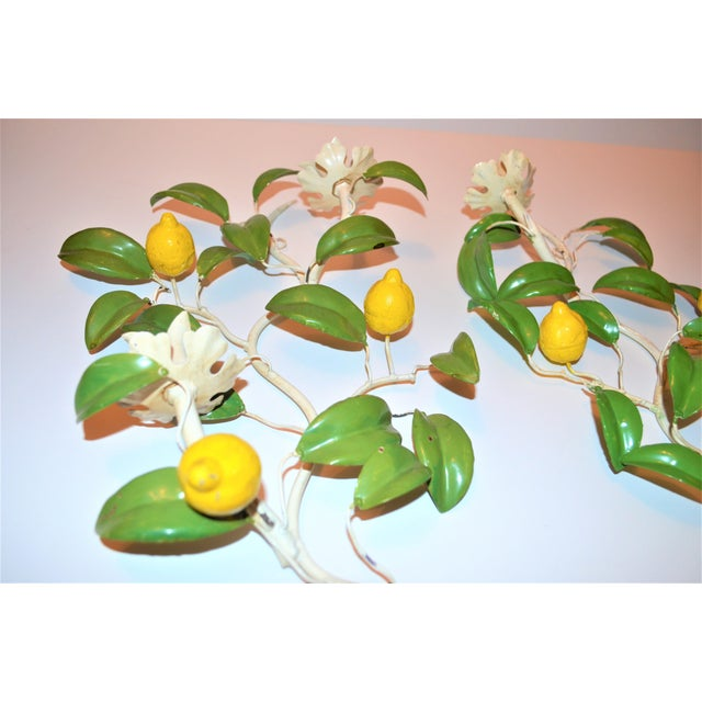 1970s Italian Hand Painted Lemon Tree Tole Wall Sconces - a Pair For Sale - Image 5 of 8
