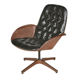 """1960s Vintage George Mulhauser for Plycraft """"Mr. Chair"""" Leather Swivel Chair For Sale"""