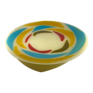 1970s Fused Art Glass Bowl For Sale