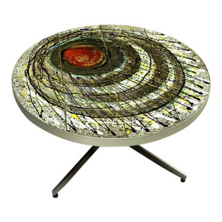 Artistic Decorative Ceramic Tiles Coffee Table in the Style of Juliette Belarti, 1960s.