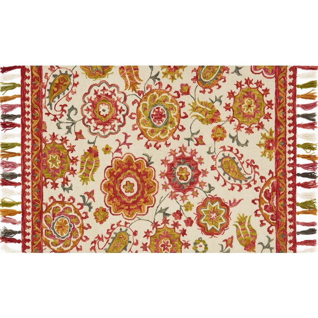 "Transitional Loloi Rugs Farrah Rug, Ivory / Berry - 1'6""x1'6"" For Sale - Image 3 of 3"