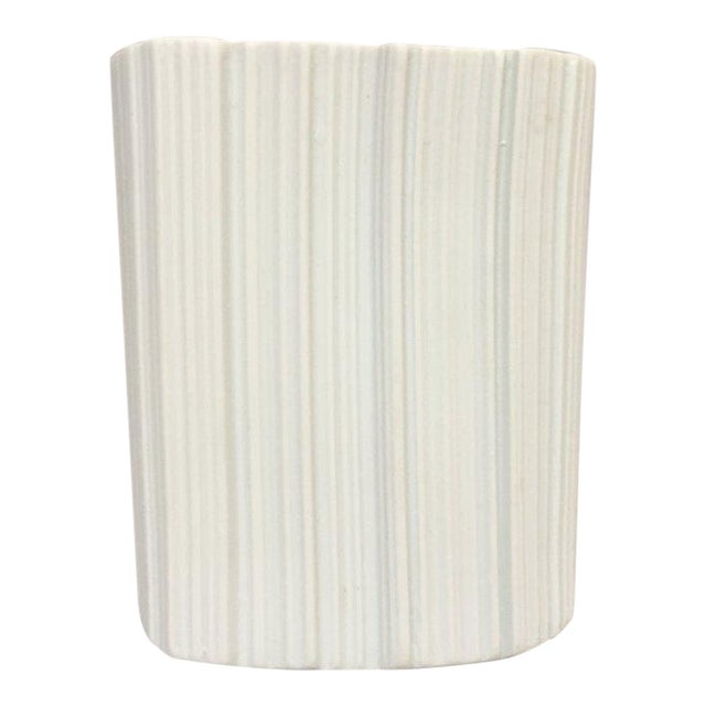 Modernist White Bisque Porcelain Naaman Ridged Vase For Sale