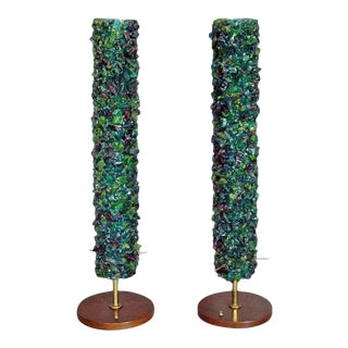Pair of Acrylic Rock Nugget Tower Table Lamps For Sale