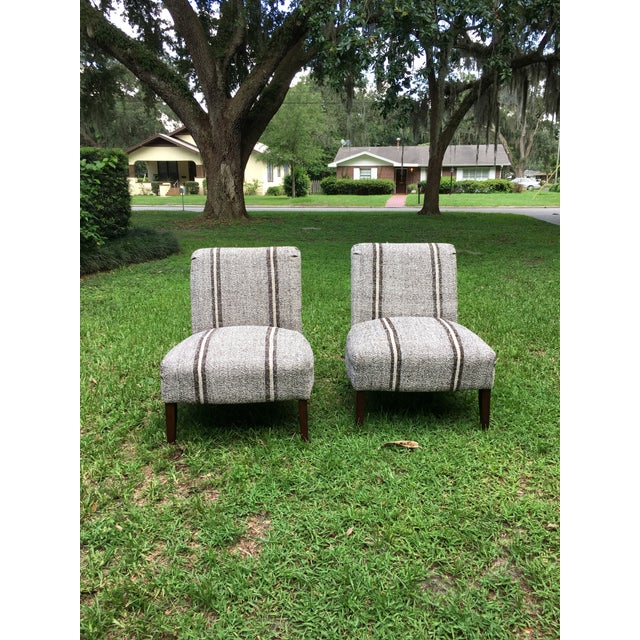 Pair of Upholstered Slipper Chairs For Sale - Image 4 of 9