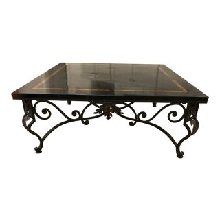Mediterannean Sarreid Ltd. Stone and Iron Coffee Table For Sale