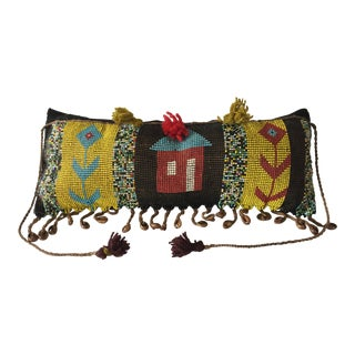 "Tribal African Kirdi Beaded Pikuran Lumbar Pillow 18"" W For Sale"