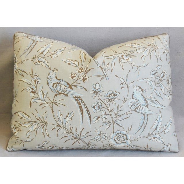 """Early 21st Century Scalamandre Aviary & Velvet Feather/Down Pillows 22"""" X 16"""" - Pair For Sale - Image 5 of 13"""
