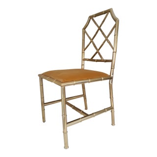 1960s Vintage Italian Brass Faux Bamboo Chair For Sale