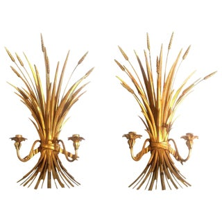 Hollywood Regency Mid-Century Gilt Metal Wheat Sheaf Sconces, Circa 1960s.