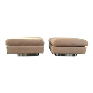 1970s Vintage Forecast Furniture Chrome and Mohair Ottomans - a Pair For Sale