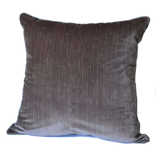 Scalamandré 100% Silk Velvet Mauve Strie Pillow For Sale - Image 10 of 10