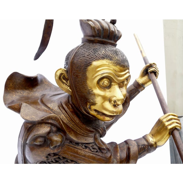 Large Bronze Statue of Sun Wukong Warrior - Image 3 of 7