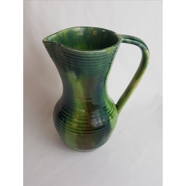 Mid-Century Modern Green Belgian Art Pottery Jug For Sale - Image 3 of 4